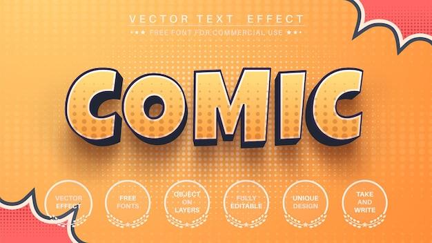 Effetto di testo modificabile comico 3d, stile del carattere