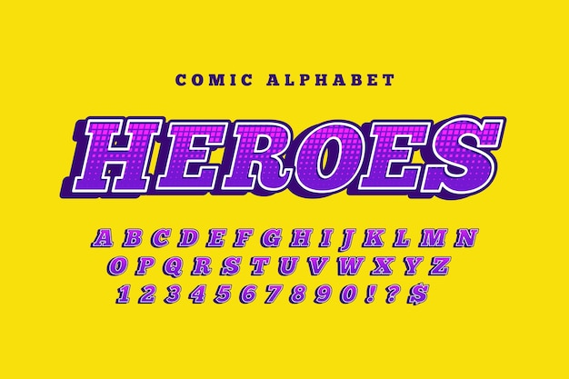 Tema comico 3d per la raccolta di alfabeto