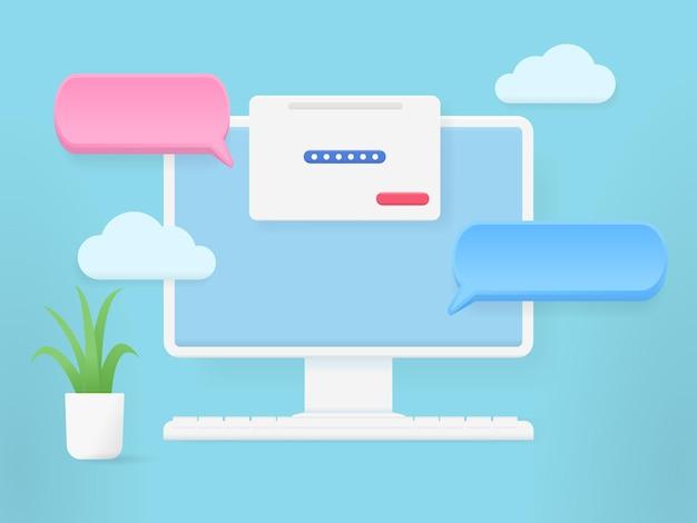Monitor del computer 3d con chat a bolle, computer con pagine aperte.