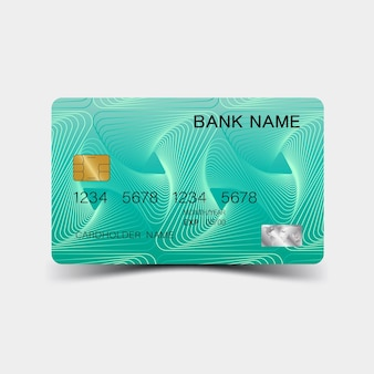 Modello di carta di credito 3d illustrazione vettoriale modificabile colorata eps10