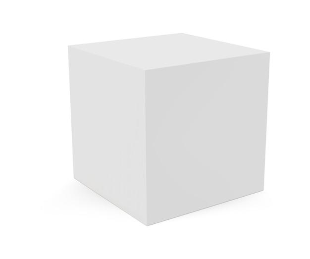 Cubo 3d isolato su priorità bassa bianca