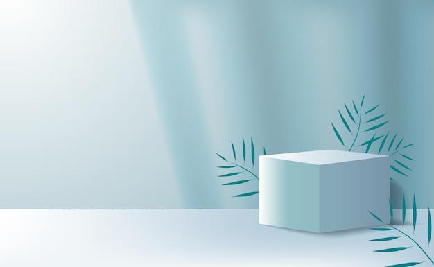 Minimalismo del cubo 3d per la pubblicità di posizionamento del prodotto con foglie tropicali