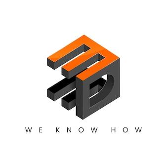3d cubo moderno logo ispirazione iniziale tipografia 3d