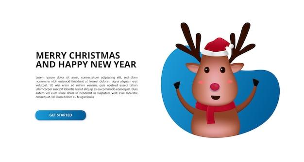 Il simpatico cartone animato di renne 3d si alza in piedi per i bambini, buon natale e felice anno nuovo