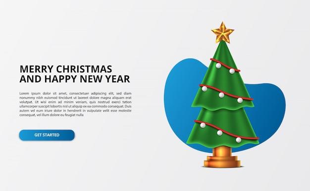 Simpatico albero di natale 3d con accessori decorativi con stella dorata per interni casa. buon natale e felice anno nuovo.