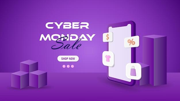Progettazione 3d del cyber lunedì, banner di vendita del cyber lunedì