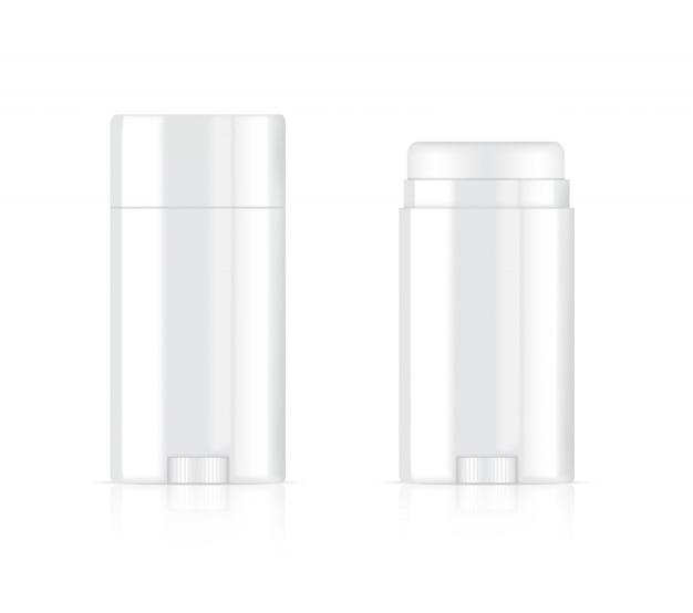 Cosmetico realistico della bottiglia del deodorante 3d per il prodotto di cura della pelle sull'illustrazione bianca del fondo. assistenza sanitaria e concetto medico.