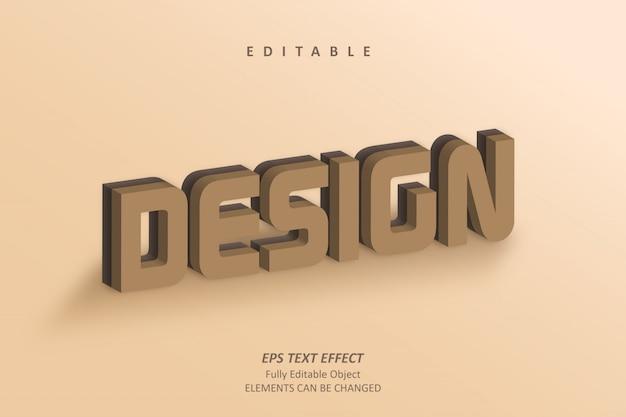 Design 3d effetto di testo marrone modificabile
