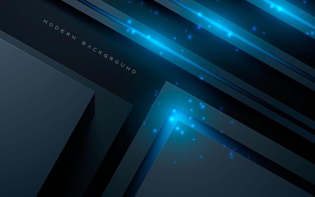 Sfondo astratto nero dimensione 3d con decorazione a luce blu