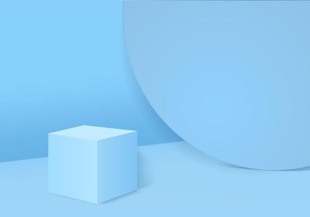 3d display prodotto astratto scena minima con podio geometrico piattaforma cilindro sfondo rendering 3d con podio stand per prodotti cosmetici stage vetrina su piedistallo 3d blue studio