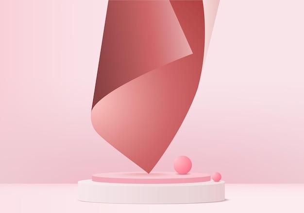 Prodotto di visualizzazione 3d scena minima astratta con piattaforma geometrica del podio. sfondo del cilindro rendering 3d con podio. stand per prodotti cosmetici. vetrina scenica su piedistallo 3d pink studio