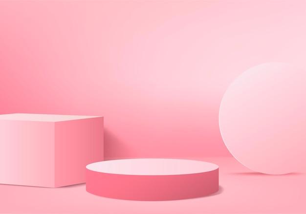 Prodotto di visualizzazione 3d scena minima astratta con piattaforma podio geometrica. sfondo del cilindro rendering 3d con podio. in piedi,. vetrina scenica su piedistallo 3d pink studio