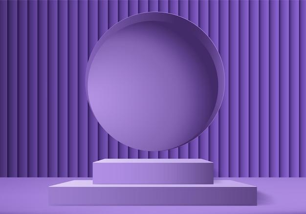 Scena minimale astratta del prodotto di visualizzazione 3d con piattaforma geometrica del podio. Vettore Premium