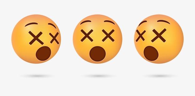 Emoji 3d con faccia da capogiro per emoticon sui social media social