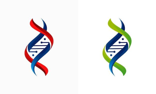 Concetto di design del logo 3d dna, modello di design del logo gen