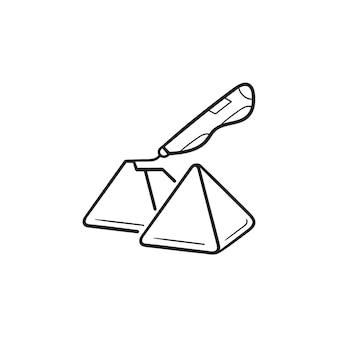Penna doodler 3d che crea piramidi icona di doodle di contorni disegnati a mano. tecnologie future e concetto di innovazioni