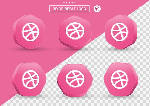 Icona dribbble 3d in cornice in stile moderno e poligono per i loghi delle icone dei social media
