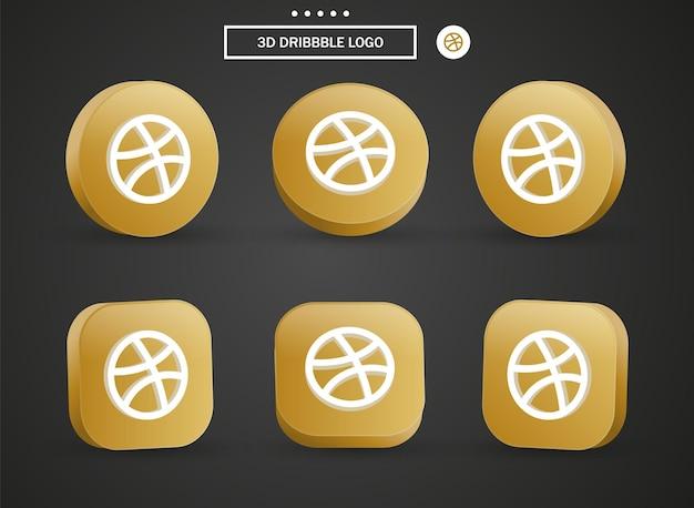 Icona del logo dribbble 3d nel moderno cerchio dorato e quadrato per i loghi delle icone dei social media Vettore Premium