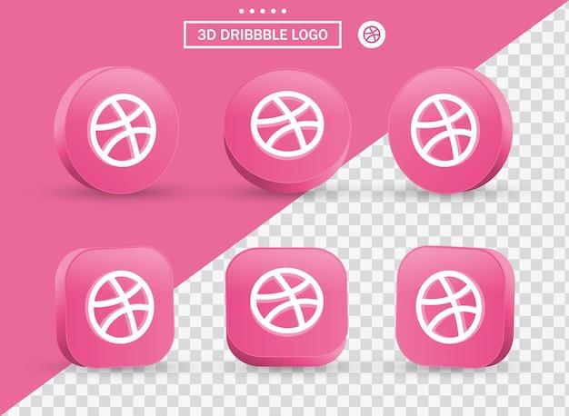 Logo 3d dribbble in stile moderno cerchio e quadrato per i loghi delle icone dei social media