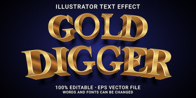 Effetto di testo modificabile 3d - stile scavatore d'oro