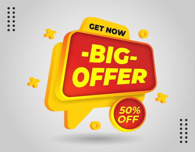 Elegante banner promozionale 3d per promuovere la tua attività e l'offerta