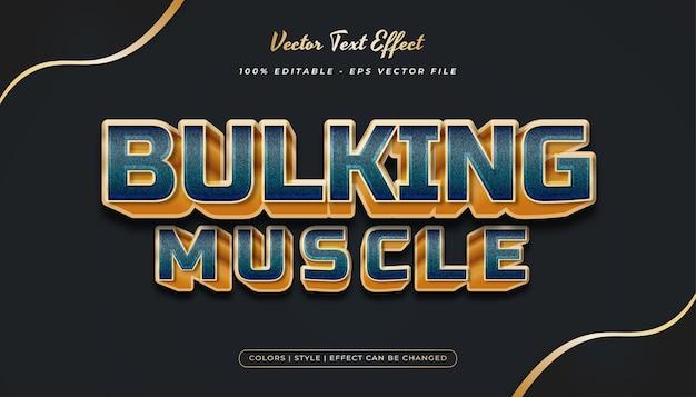Stile di testo 3d in rilievo verde e oro con texture effetto grana Vettore Premium