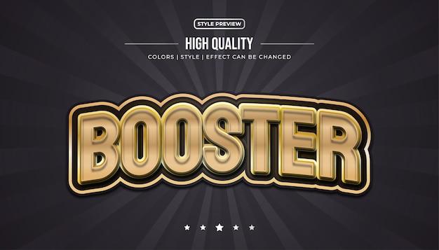 Effetto di testo in rilievo 3d con stile di gioco nel concetto nero e oro ed effetto curvo