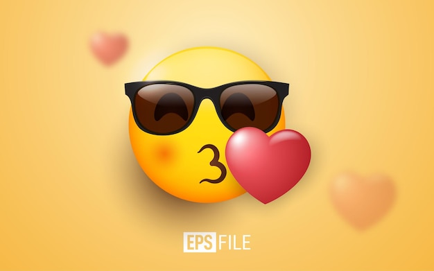 Emoji 3d kiss occhiali da sole su arancione