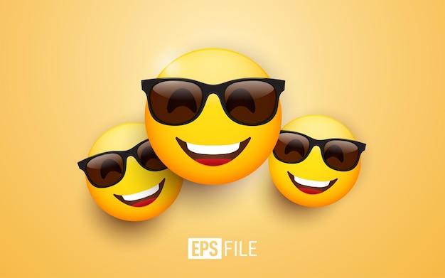 Emoji 3d con occhiali da sole neri e un sorriso allegro