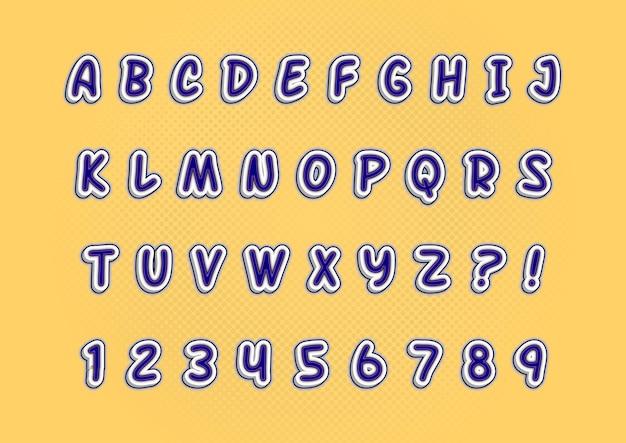 Set di numeri di alfabeti con effetto stile gomma 3d