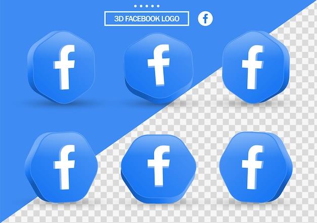 Icona di facebook 3d in cornice in stile moderno e poligono per i loghi delle icone dei social media