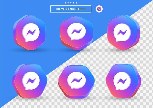 Icona di messaggistica di facebook 3d in cornice in stile moderno e poligono per i loghi delle icone dei social media