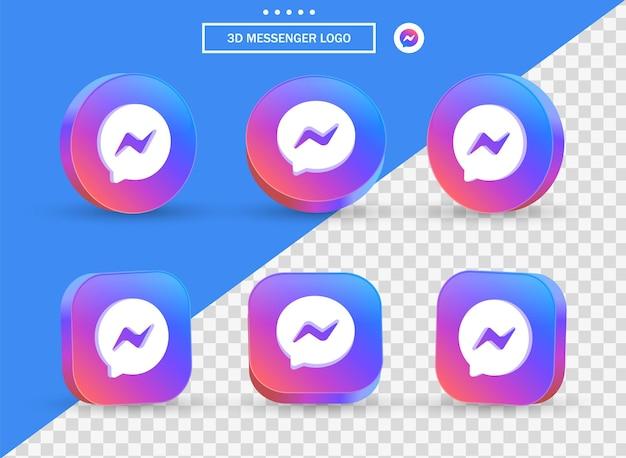 Logo 3d facebook messenger in stile moderno cerchio e quadrato per i loghi delle icone dei social media