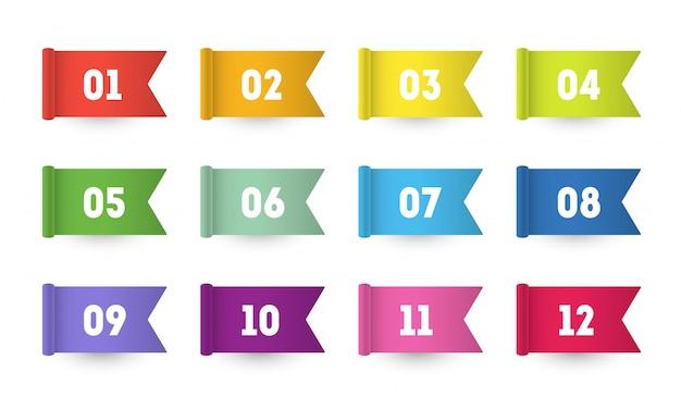 Punti elenco di numeri di bandiera 3d da uno a dodici