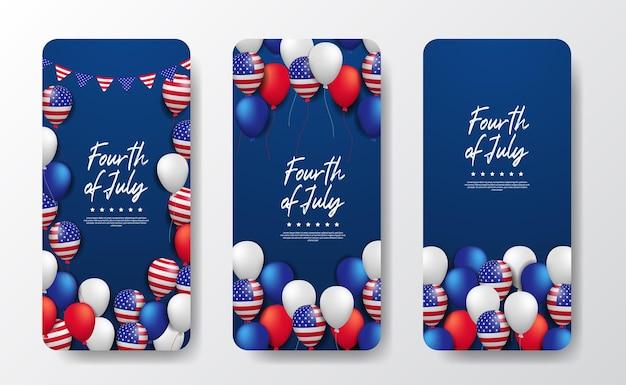 Palloncino colorato volante 3d con bandiera americana giorno dell'indipendenza americana 4 luglio usa