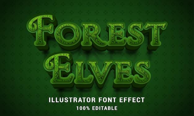 Elfi della foresta 3d - effetto di testo facilmente modificabile