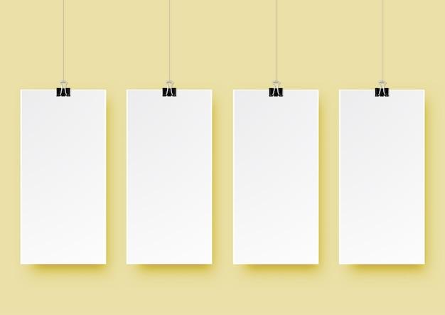 Progettazione moderna di arte di carta moderna del segno di quattro quadrati 3d Vettore Premium
