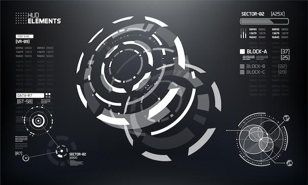 Insieme di elementi dell'interfaccia hud tecnologia futuristica 3d.