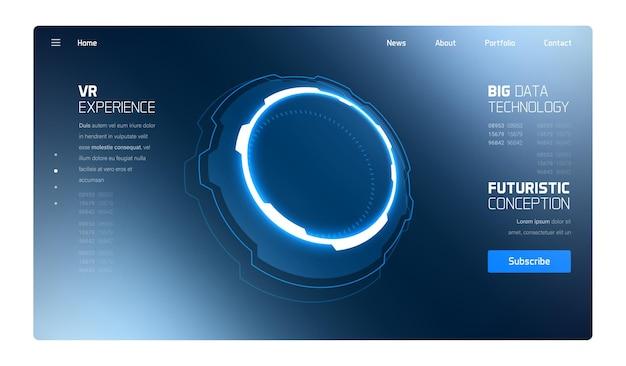 Pagina di destinazione dell'interfaccia hud della tecnologia futuristica 3d