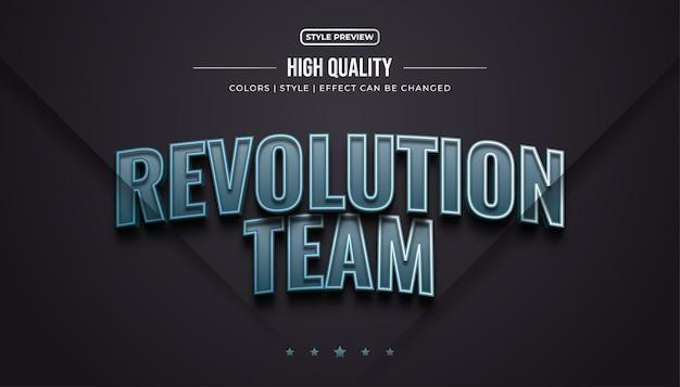 Stile di testo di gioco 3d con effetto metallico per l'identità della squadra di e-sport o il nome del logo