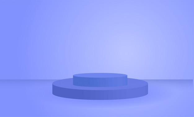 Podio blu geometrico del prodotto di forme di cirlce blu 3d