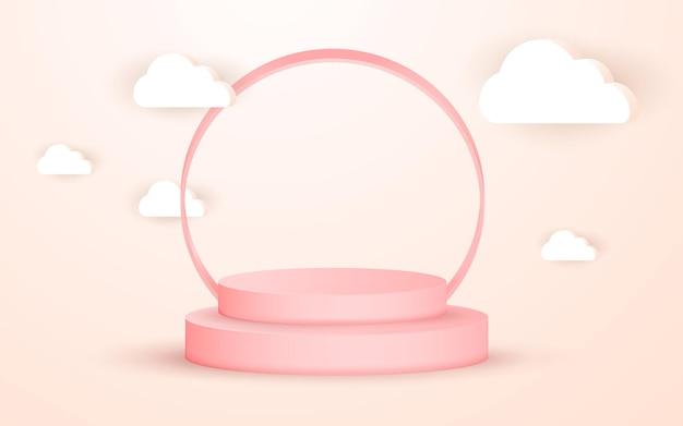 Podio rosa elegante geometrico 3d e nuvola per il posizionamento del prodotto con cornice circolare
