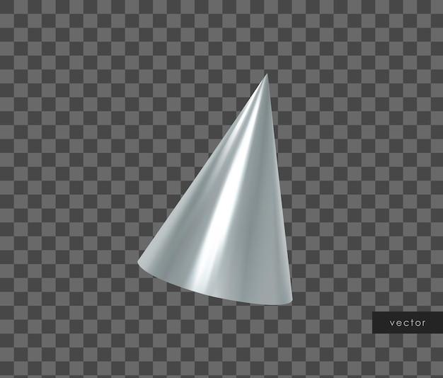 Oggetto geometrico 3d. cono d'argento metallico isolato. vettore.