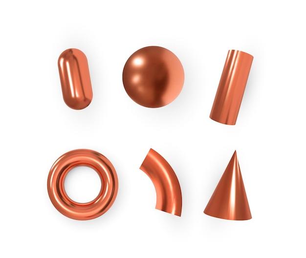 Oggetti geometrici 3d. forme rosse metalliche isolate. vettore.
