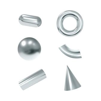 Oggetti geometrici 3d. forme d'argento metalliche isolate.