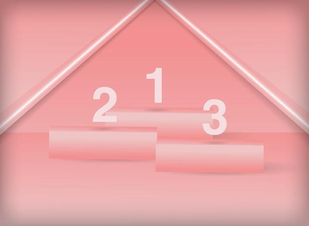 Scena minima del palco del podio rosa pastello geometrico 3d per il posizionamento del prodotto