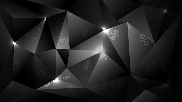 Fondo poligonale geometrico 3d per invito in vendita. modello di vendita venerdì blsck.