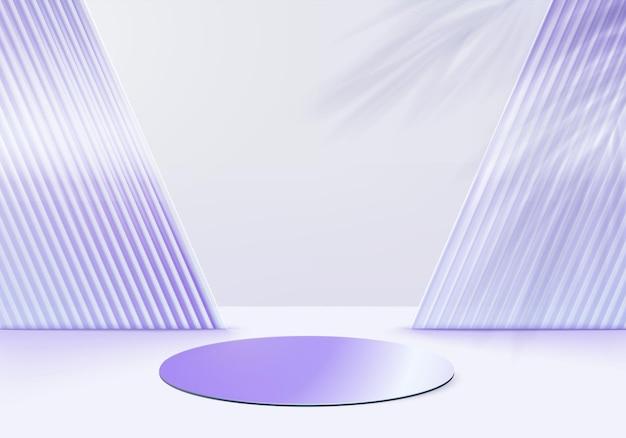 I prodotti di sfondo in vetro 3d mostrano la scena del podio con la piattaforma viola. sfondo vettoriale rendering 3d con podio. stand per mostrare prodotti cosmetici. vetrina scenica su piedistallo studio viola