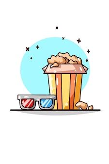Occhiali 3d e illustrazione di popcorn
