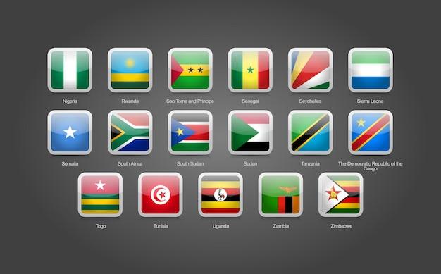Icone a forma rotonda quadrate lucide 3d per le bandiere dei paesi dell'africa